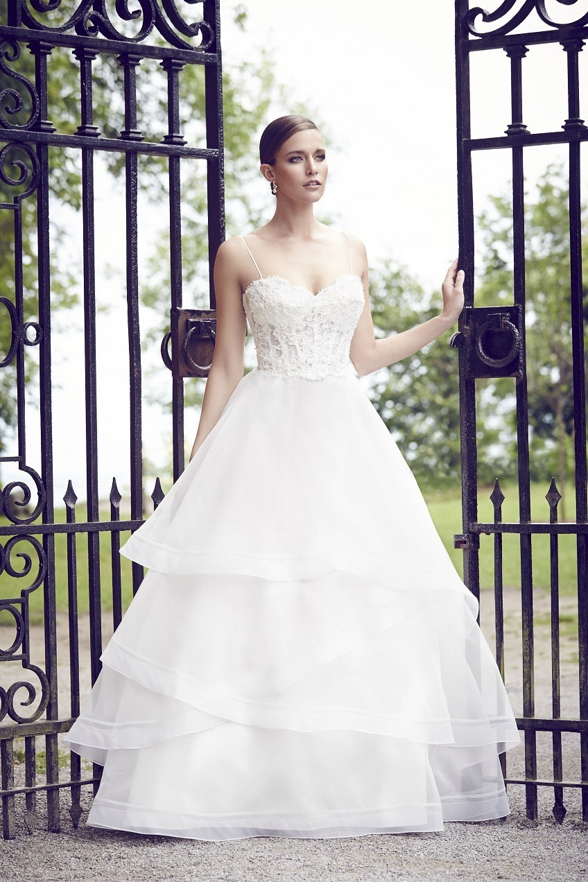 Paloma Blanca wedding dress Spring Collection Style 4555 front