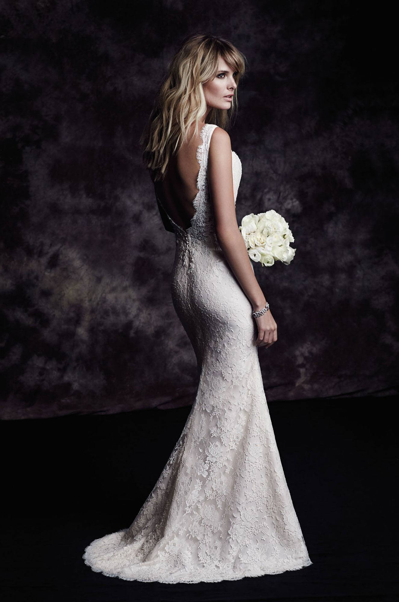 French Chantilly Lace Wedding Dress Style 4601