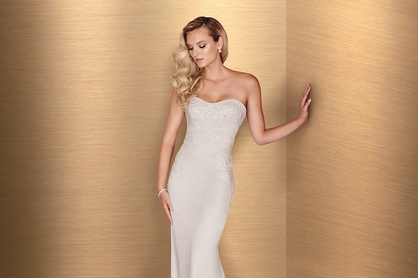 Style 4660 crop Paloma Blanca wedding dress Spring 2016 Collection