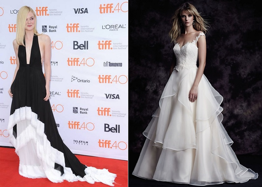 Paloma Blanca Style 4605 is comparable to Ellie Fanning's TIFF 2015 Red Carpet gown.
