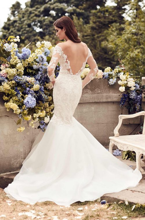 Fitted Two-Tone Lace Wedding Dress - Style #4728 | Paloma Blanca
