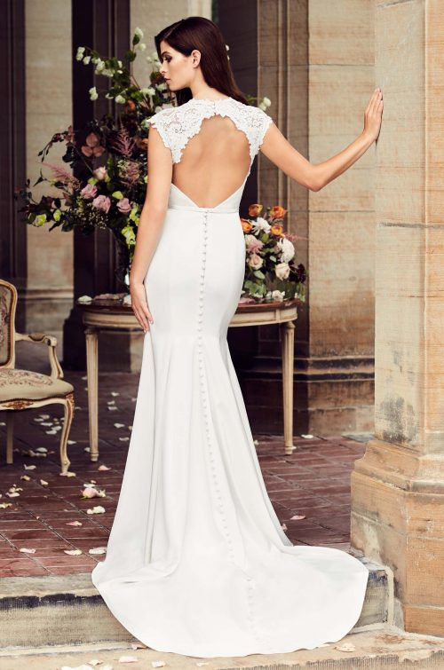 Satin Plunging Neckline Wedding Dress - Style #4735 | Paloma Blanca