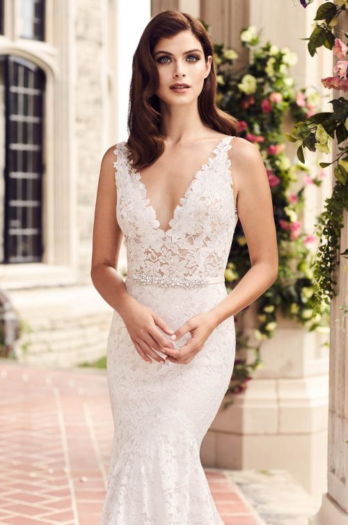 Contrasting Lace Wedding Dress - Style #4747 | Paloma Blanca