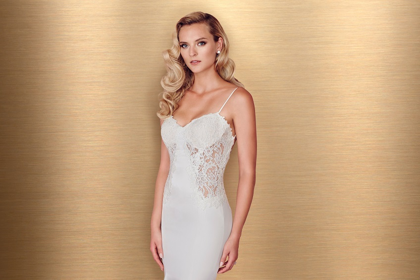 Style 4665 crop Paloma Blanca wedding dress Spring 2016 Collection