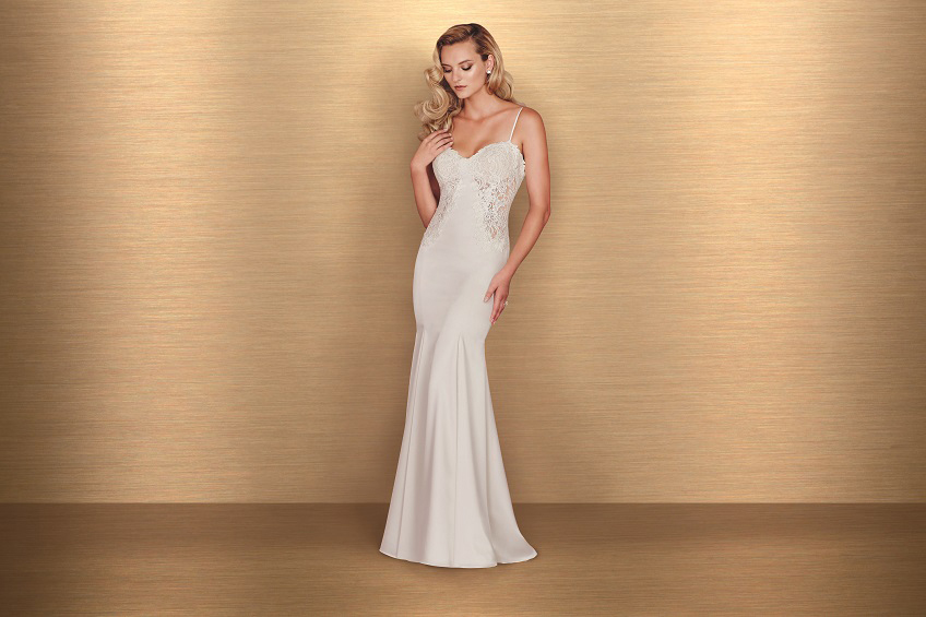 Style 4665 front Paloma Blanca wedding dress Spring 2016 Collection
